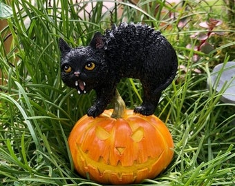 SALE Black Cat and Jack O Lantern Pumpkin Figurine, Fairy Garden Miniature Garden Decor, Accessory, Topper, Halloween Decor