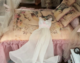 Miniature Nightgown, Long White Night Gown With Pink Bows, #14, Dollhouse Miniature, 1:12 Scale, Dollhouse Accessory, Decor, Mini Clothes
