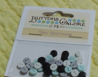 "SALE Tiny Buttons, 2 Hole Buttons, Packaged Assortment, ""Retro"", Style #1353 by Buttons Galore, Sewing, Crafting Embellishments, Round Butto"