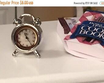SALE Miniature Silver Alarm Clock, Dollhouse Miniature, 1:12 Scale, Dollhouse Accessory, Decor, Mini Windup Clock, Dollhouse Decor