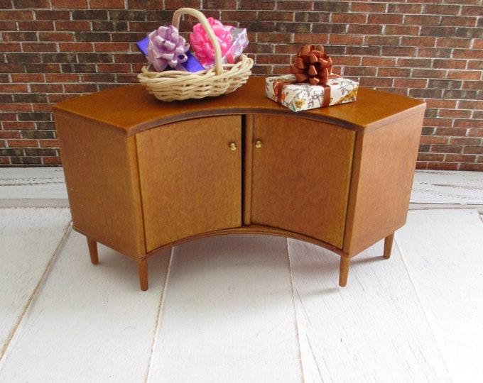 Miniature JBM Modern Corner Cabinet, Mini Curved Wood Cabinet With Two Doors, Dollhouse Miniature Furniture 1:12 Scale