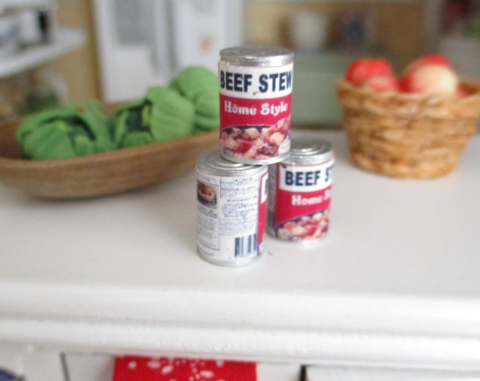 Miniature Food Can, Mini Beef Stew Can, One Mini Can, Dollhouse Miniature, 1:12 Scale, Mini Food, Dollhouse Decor, Accessory