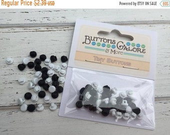 SALE Tiny Round Black and White Buttons, Packaged Shank Back Buttons by Buttons Galore, Style 1821, Sewing, Crafting Embellishments