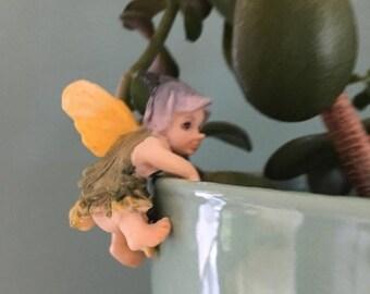 SALE Fairy Baby Flower Pot Hugger Figurine, Mini Fairy, Home and Garden Decor, Mini Fairy Baby, Climbing Fairy