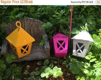 SALE Miniature Yellow Metal Lantern, Fairy Garden Accessory, Miniature Gardening, Home and Garden Decor, Topper, Crafting