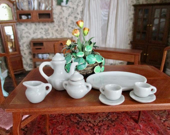 Miniature Tea Set, Mini Tea Set With Tray, 10 Piece Set, Style #57, Dollhouse Miniature, 1:12 Scale, Mini Tea Pot, Creamer, Sugar