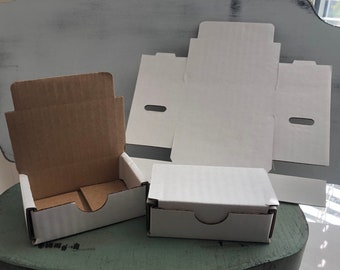 White Tuck Top Boxes, Set of 3, 3x2x1 Inch Boxes, Small Corrugated Cardboard Boxes