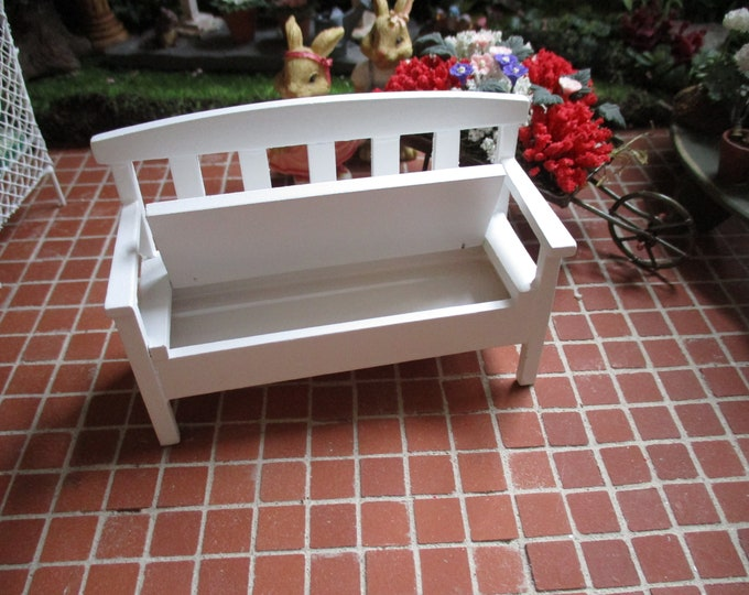 Miniature White Garden Bench, Wood Garden Bench With Seat Storage, Style #46, Dollhouse Miniature, 1:12 Scale, Dollhouse Furniture