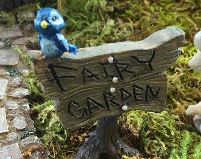 SALE Fairy Garden Blue Bird Sign, Fairy Garden Accessory, Garden Decor, Miniature Gardening, Terrarium Accessory