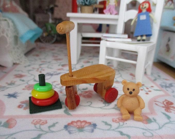 Miniature Toys Set, Mini Vintage Wood Bike, Stacking Rings and Teddy Bear, 3 PC Set, Dollhouse Miniatures, 1:12 Scale, Dollhouse Decor