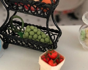 SALE Miniature Tomatoes in Basket, Dollhouse Miniature, 1:12 Scale, Miniature Food, Mini Food, Dollhouse Food, Mini Cherry Basket