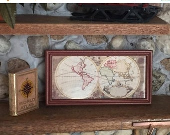 SALE Miniature Framed Map, Ancient Colored World Map, Dollhouse Miniature, 1:12 Scale, Dollhouse Accessory, Decor, Framed Picture, Old Map