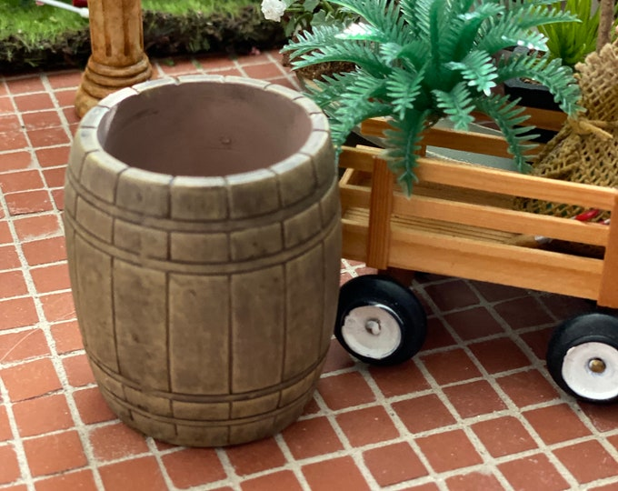 Miniature Barrel, Dollhouse Miniature, 1:12 Scale, Dollhouse Garden, Miniature Garden Decor, Mini Resin Barrel, 1 Inch Scale