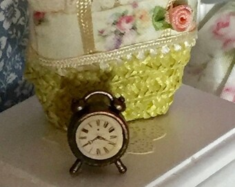 SALE Miniature Alarm Clock, Style 02, Dollhouse Miniature, 1:12 Scale, Dollhouse Accessory, Decor, Mini Antique Style Wind Up Alarm Clock