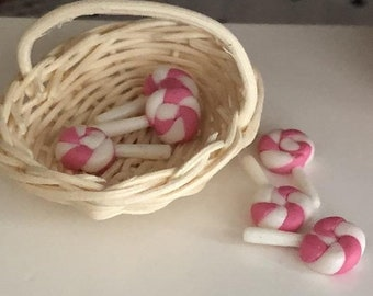 SALE Miniature Lollipops, White and Pink Suckers, Set of 6, Dollhouse Miniature, 1:12 Scale, Mini Food, Dollhouse Candy