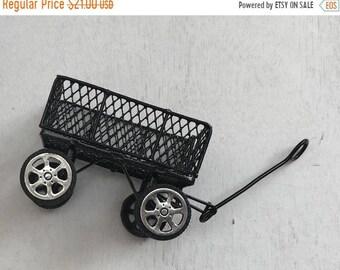 SALE Miniature Metal Wagon, Wire Black Wagon Cart, Dollhouse Miniature, 1:12 Scale, Dollhouse Wagon, Crafts, Topper