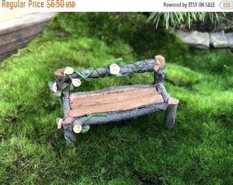 SALE Mini Wood Bench, Wood Look Bench With Flowers #88, Fairy Garden Accessory, Garden Decor, Miniature Garden Decor, Shelf Sitter, Topper