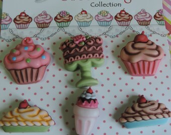 "Dessert Buttons, Carded Buttons, ""Decadent Desserts"" SD104 by Buttons Galore, 6 Button Set, Cupcake, Pie, Shake and Cake Buttons"