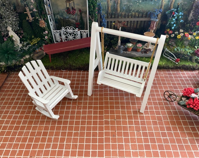 Miniature Adirondack Chair and Standing Swing Set, Dollhouse Miniature Furniture, 1:12 Scale, Mini Outdoor Wood Swing Chair Set