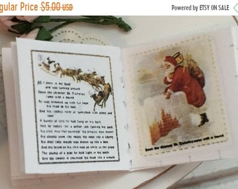 SALE Miniature Christmas Story Book, Readable Miniature Book, 1:12 Scale, Dollhouse Miniature, Tiny Book, Holiday Decor, Dollhouse Accessory