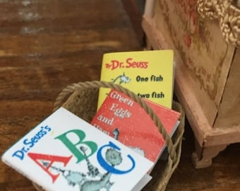 SALE Miniature Children's Books, Set of 3,  Fish, ABC and Green Eggs,  Dollhouse Miniatures, 1:12 Scale