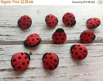 SALE Ladybug Buttons, Packaged Novelty Buttons by Buttons Galore, Style 4247, Shank Back Buttons, Embellishments