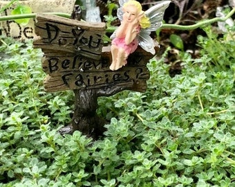 "SALE Miniature Sign, Fairy Garden Sign with Sitting Fairy, ""Do You Believe in Fairies"" Sign With Metal Pick, Tree Stump Wood Look Sign Pick"