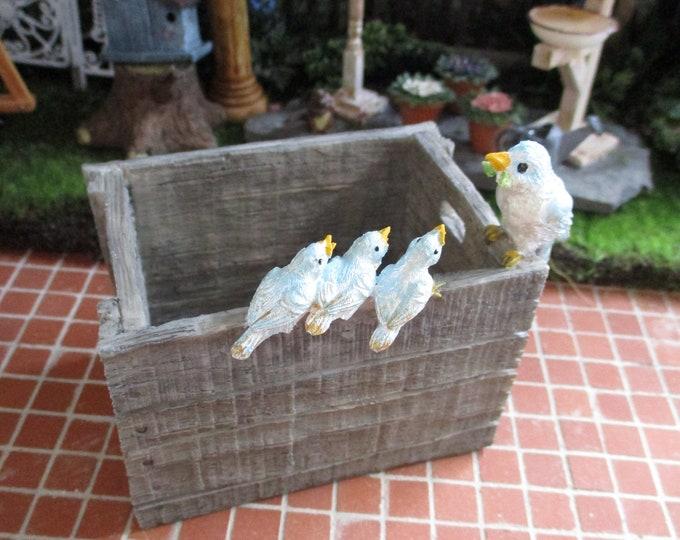 Mini Birds on Crate Figurine, Succulent Tillandsia Planter, Garden Decor, Gift, Shelf Sitter, Mini Bird Planter
