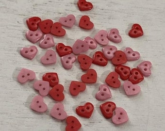 "SALE Tiny Heart Buttons, Packaged 2 Hole Buttons Assorted Colors ""Valentine Hearts"" #1827 by Buttons Galore, Sewing, Crafting, Embellishment"