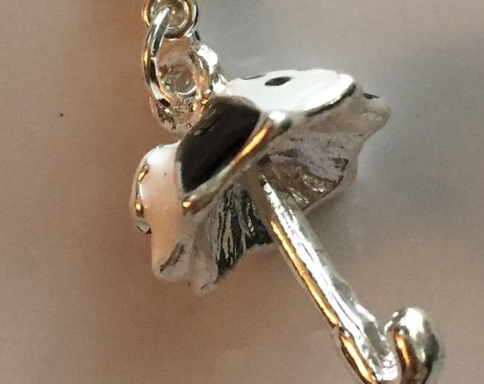 Umbrella Charm with Lobster Claw Clasp Black White and Silver