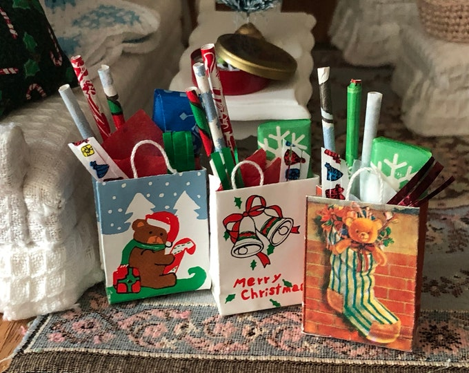 Miniature Christmas Bag, Filled with Wrapping Supplies, Choose Style, Dollhouse Miniature, 1:12 Scale, Dollhouse Holiday Decor, Accessory
