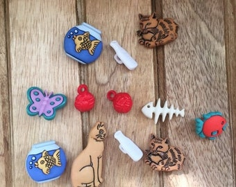 """SALE Cat Themed Buttons, Packaged Novelty Button Assortment """"Something Fishy"""" Buttons Galore, Cats, Fishbone, Fishbowl and More, Style 4436"""