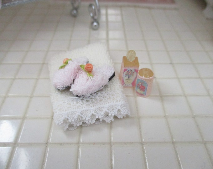 Miniature Bathroom Set, Beige Towel, Pink Slippers and Lotion Bottles, Style #69, Dollhouse Miniatures, 1:12 Scale, Bathroom Accessories