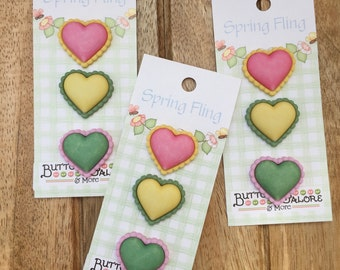 "Heart Buttons, Carded Novelty Buttons by Buttons Galore, Bazooples Collection, ""Chunky Hearts"" Style SF123, Shank Back Buttons, Set of 3"