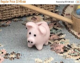 SALE Miniature Piggy Bank, Pink Ceramic Bank, Dollhouse Miniature, 1:12 Scale, Dollhouse Accessory, Decor, Crafts, Topper, Embellishment