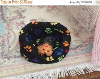 SALE Miniature Dog Bed, Fabric Dog Bed, Black With Multi Colored Paws, Dollhouse Miniature, 1:12 Scale, Mini Bed, Paw Print Fabric Pattern