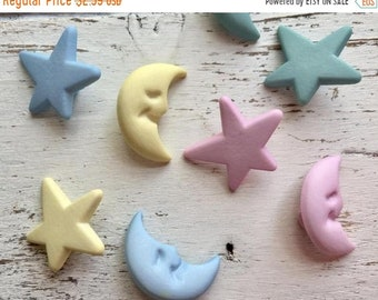 "SALE Star and Moon Buttons, Packaged Novelty Buttons ""Dream Come True"" #4303 by Buttons Galore, Pastels, Shank Back Buttons, Embellishments"