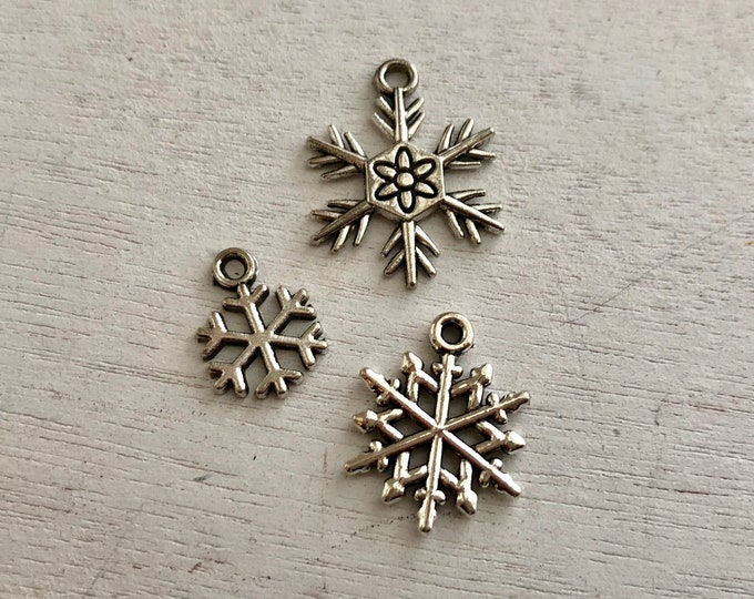 Mini Snowflake Charms, Silver Snowflakes, Set of 3