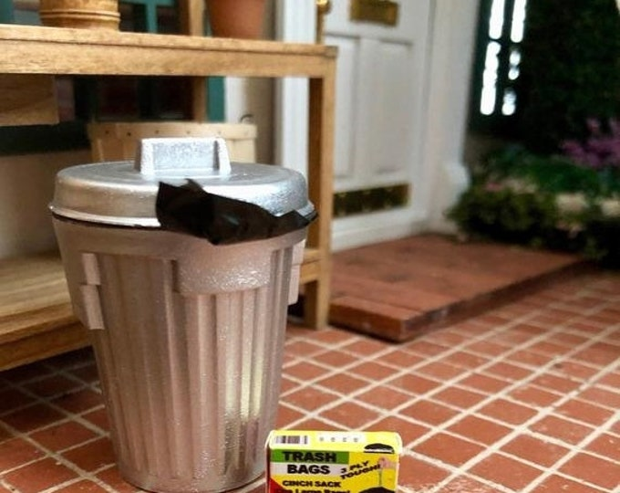 SALE Miniature Garbage Can with Liner and Mini Box of Bags, Dollhouse Miniature, 1:12 Scale, Mini Trash Can and Bags, Dollhouse Accessory, D