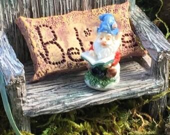 SALE Miniature Gnome, Dollhouse Garden Gnome, Mini Gnome Reading, Dollhouse Miniature, 1:12 Scale, Home & Garden Decor, Accessory, Topper