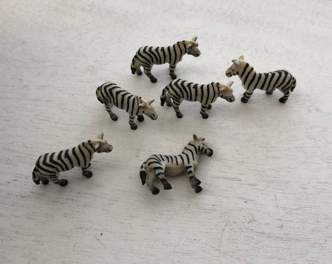 Miniature Zebras, Set of 6 Standing Plastic Zebras, Great for Crafts, Toppers, Embellishments