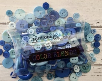 """SALE Hand Dyed Buttons, Shades of Blue, """"Blueberry Pie"""" ColorBlends by Buttons Galore, Style CB104, 2 Hole and 4 Hole Buttons, 1/2"""" to 1"""""""