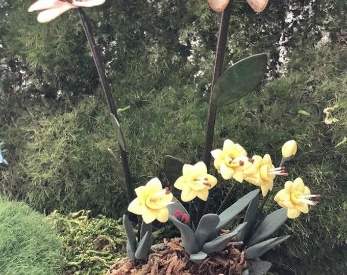 SALE Mini Flower Gazing Ball Pick, Fairy Garden Accessory, Decor, Choose Color Style, Mini Metal Garden Pick