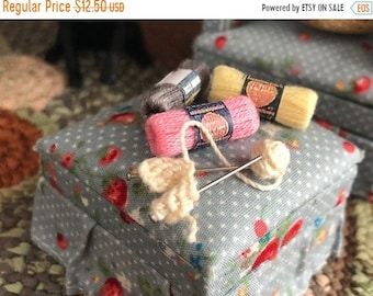 SALE Miniature Knitting in Progress With Yarn, Mini Yarn Skeins, Pick Colors, Dollhouse Miniature, 1:12 Scale, Dollhouse Accessories