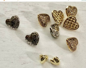 "SALE Heart Buttons, Packaged Assortment, Gold and Silver, Shank Back, ""Small Fancy"" Style 4126 by Buttons Galore, Sewing, Crafting"