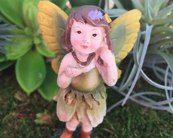 SALE Fairy Figurine, Mini Fairy With Green Ombre Flower Dress, Yellow and Green Wings, Fairy Garden, Miniature Gardening, Home & Garden Deco