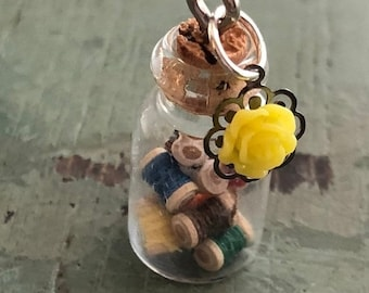 SALE Mini Glass Cork Top Jar Filled with Wood Thread Spools, Necklace Pendant/Charm, Ready for Hanging, Includes Mini Yellow Rose Charm