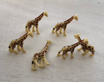 Miniature Giraffes, Set of 6 Standing Plastic Giraffes, Great for Crafts, Toppers, Embellishments