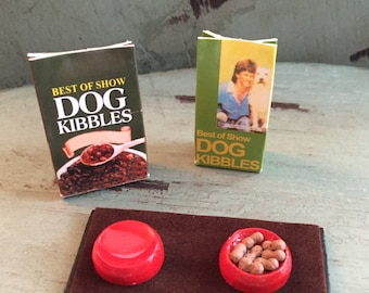 Miniature Dog Food and Bowl Set, Dollhouse Miniature, 1:12 Scale, Dollhouse Decor, Accessories, Mini Pet Supplies