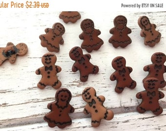 "SALE Gingerbread Buttons, Packaged Novelty Button Assortment by Buttons Galore, ""Little Gingerbread"" Style 4783, Shank Back Buttons, Holiday"